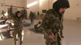 Female Afghan women in army officer training