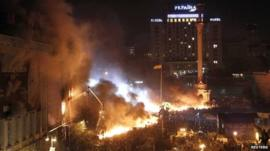Clashes at Independence Square in Kiev