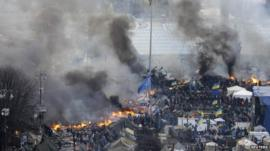 Fires and black smoke in Independence Square