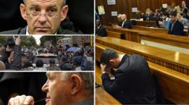 Clockwise from top left, South African State prosecutor Gerrie Nel, Oscar Pistorius, Barry Roux, and media surrounding Mr Pistorius' car outside court