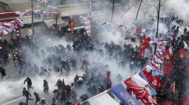 Tear gas fired at protesters near Taksim Square, Istanbul. 12 March 2014