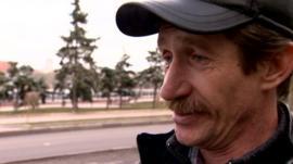 Man speaking to BBC in Donetsk