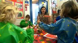 Nursery children and their teacher