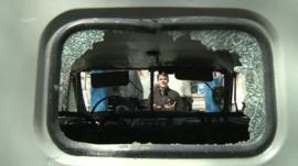 A smashed vehicle window