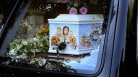 The coffin of Peaches Geldof, the daughter of Sir Bob Geldof, draws into the Davington Priory estate
