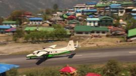 Plane lands at Lukla, Nepal