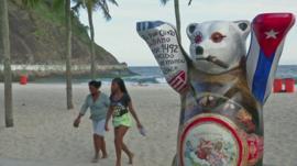 One of the United Buddy Bears on Copacabana beach