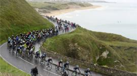 The Giro d'Italia peloton just outside Portrush midway through Saturday's second stage in Northern Ireland