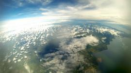 A view of Lake Malawi from a high altitude balloon