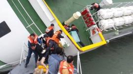 This screen grab taken from a video released by Korea Coast Guard on April 28, 2014 shows the sunken South Korean ferry
