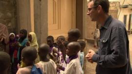 Will Ross at a school in Kano