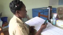 Community health officer uploading data
