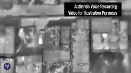 Still from Israeli military footage shows the moments before an airstrike on Gaza