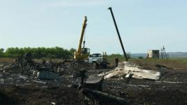 Machinery at the crash site