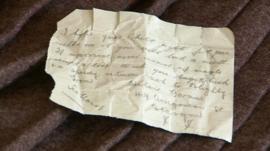 Note found in a World War One kilt