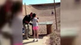 Footage of the girl at the shooting range before the accident
