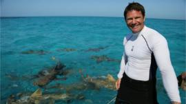 Steve Backshall on a boat