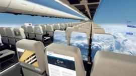 Plane with no windows- giant screens project views from the outside world.