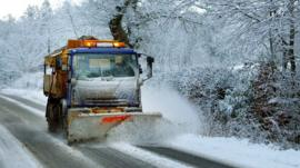 A snow plough on the A93 near Guildtown