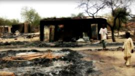 Burnt-out building in Baga, Nigeria