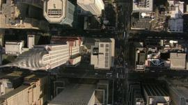 A bird's eye view of New York skyscrapers