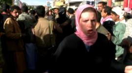 The BBC's Sally Nabil reports from a demonstration in Sanaa.