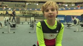 12-year-old Barnaby at the British Indoor Rowing Championships