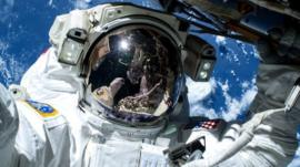 Commander Barry Wilmore outside the International Space Station