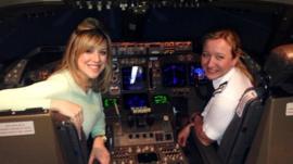 TV reporter Jenny Lawrence with pilot Helen MacNamara