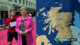 Watch Dermot boogie through the BBC weather report!