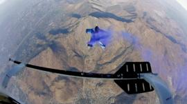 Wingsuit man in the air