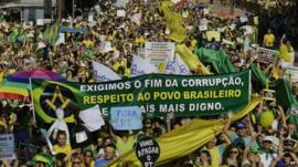 Anti-government protest in Sao Paulo, Brazil - 12 April 2015