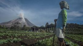 Farmers watch Mount Sinabung in Indonesia