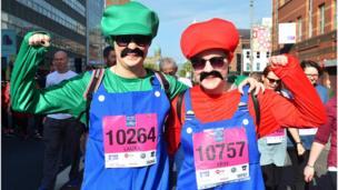 Competitors in fancy dress, Belfast City Marathon, 1 May 2017