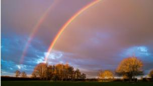 Rain during the day cleared with a lovely double rainbow, near Combe.