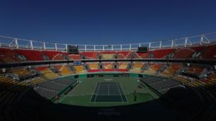 A general view of the Olympic Tennis Centre on 1 August 2016 in Rio de Janeiro, Brazil.