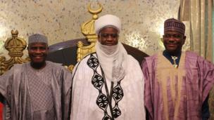 Sokoto Governor Aminu Waziri Tambuwal (L) with Sultan Abubakar Saad III (C) and Rivers Governor Nelson Wike (R)