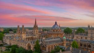 The sunset over Oxford, shot from New College tower