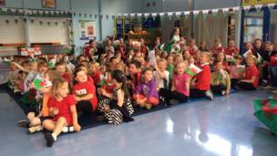 Pupils at Ysgol Glan Conwy, Conwy county, watched the game