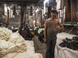 India 2015. A cotton factory worker.
