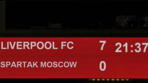 The scoreboard shows the final score 7-0 at the end of the UEFA Champions League Group E football match between Liverpool and Spartak Moscow at Anfield in Liverpool, north-west England on December 6, 2017