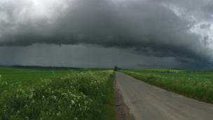A dramatic weather front between South Stoke and Woodcote.