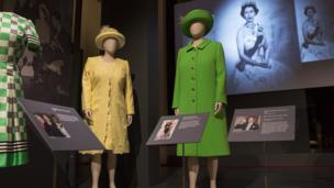 """Outfits worn by Queen Elizabeth II including the coat and hat worn at the Service of Thanksgiving for her 90th birthday celebration at St Paul""""s Cathedral in 2016"""