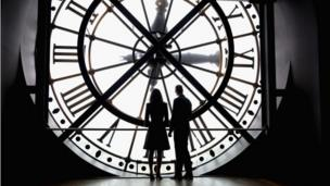 Duke and Duchess looking through the clock at the Musee d'Orsay