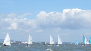 Sailing boats on Cardiff Bay
