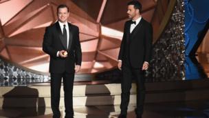 Matt Damon y Jimmy Kimmel.