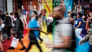 Pride in London sign on shop window