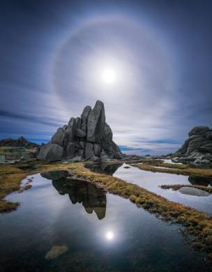Лунный свет над хребтом Северный Бараний лоб в Национальном парке Косцюшко, штат Новый Южный Уэльс, 21 мая 2016