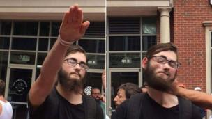 A composite photo showing a white supremacist being punched after giving a Nazi salute