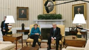 ترامب وميركل في البيت الابيض